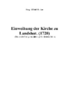 Einweihung der Kirche zu Landshut. (1720) [Dokument elektroniczny]