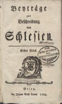 Beyträge zur Beschreibung von Schlesien