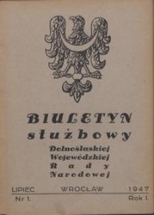 Biuletyn Służbowy Dolnośląskiej Wojewódzkiej Rady Narodowej, R. 1, 1947, nr 1
