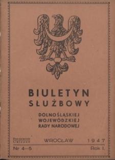 Biuletyn Służbowy Dolnośląskiej Wojewódzkiej Rady Narodowej, R. 1, 1947, nr 4/5