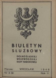 Biuletyn Służbowy Dolnośląskej Wojewódzkiej Rady Narodowej, R. 1, 1948, nr 3