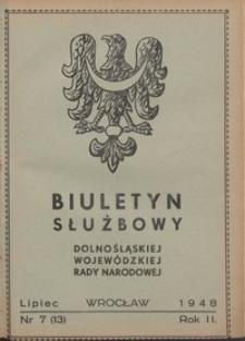 Biuletyn Służbowy Dolnośląskej Wojewódzkiej Rady Narodowej, R. 1, 1948, nr 7