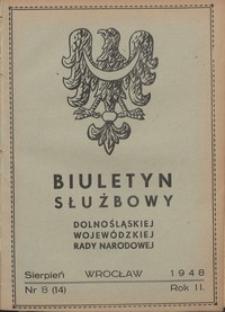 Biuletyn Służbowy Dolnośląskej Wojewódzkiej Rady Narodowej, R. 1, 1948, nr 8