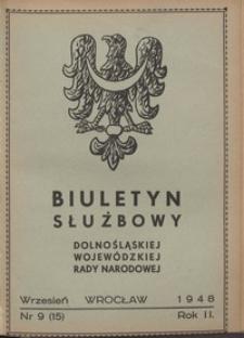 Biuletyn Służbowy Dolnośląskej Wojewódzkiej Rady Narodowej, R. 1, 1948, nr 9