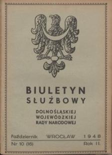 Biuletyn Służbowy Dolnośląskej Wojewódzkiej Rady Narodowej, R. 1, 1948, nr 10