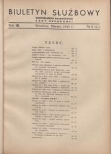Biuletyn Służbowy Dolnośląskej Wojewódzkiej Rady Narodowej, R. 1, 1949, nr 3