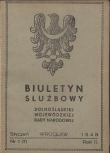 Biuletyn Służbowy Dolnośląskej Wojewódzkiej Rady Narodowej, R. 1, 1948, nr 1