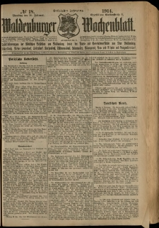 Waldenburger Wochenblatt, Jg. 60, 1914, nr 18
