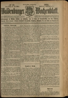 Waldenburger Wochenblatt, Jg. 60, 1914, nr 37