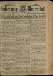 Waldenburger Wochenblatt, Jg. 60, 1914, nr 38