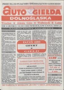 Auto Giełda Dolnośląska : pismo dla kupujących i sprzedających samochody, R. 1, 1992, nr 4 (16.05.1992 r.)