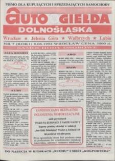 Auto Giełda Dolnośląska : pismo dla kupujących i sprzedających samochody, R. 1, 1992, nr 7 (8.06.1992 r.)