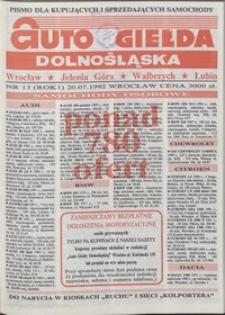 Auto Giełda Dolnośląska : pismo dla kupujących i sprzedających samochody, R. 1, 1992, nr 13 (20.07.1992 r.)