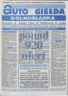 Auto Giełda Dolnośląska : pismo dla kupujących i sprzedających samochody, R. 1, 1992, nr 21 (14.09.1992 r.)