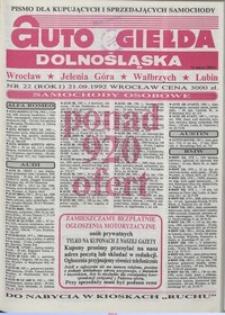 Auto Giełda Dolnośląska : pismo dla kupujących i sprzedających samochody, R. 1, 1992, nr 22 (21.09.1992 r.)