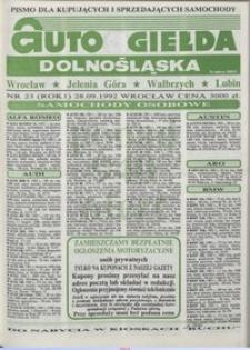Auto Giełda Dolnośląska : pismo dla kupujących i sprzedających samochody, R. 1, 1992, nr 23 (28.09.1992 r.)