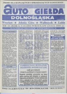 Auto Giełda Dolnośląska : pismo dla kupujących i sprzedających samochody, R. 1, 1992, nr 24 (5.10.1992 r.)