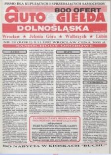 Auto Giełda Dolnośląska : pismo dla kupujących i sprzedających samochody, R. 1, 1992, nr 29 (9.11.1992 r.)