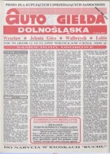 Auto Giełda Dolnośląska : pismo dla kupujących i sprzedających samochody, R. 1, 1992, nr 30 (16.11.1992 r.)
