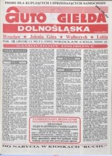 Auto Giełda Dolnośląska : pismo dla kupujących i sprzedających samochody, R. 1, 1992, nr 33 (30.11.1992 r.)