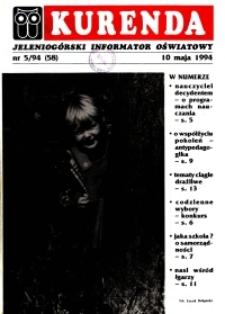 Kurenda : jeleniogórski informator oświatowy, 1994, nr 5 (58)