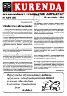 Kurenda : jeleniogórski informator oświatowy, 1994, nr 7 (60)