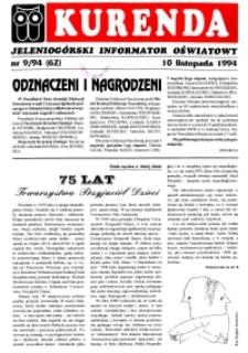Kurenda : jeleniogórski informator oświatowy, 1994, nr 9 (62)