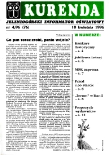 Kurenda : jeleniogórski informator oświatowy, 1996, nr 4 (77)