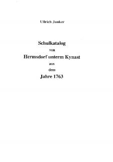 Schulkatalog von Hermsdorf unterm Kynast aus dem Jahre 1763