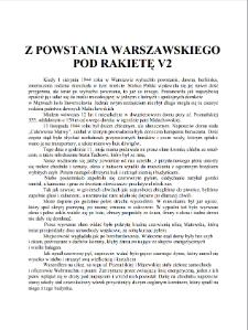 Z Powstania Warszawskiego pod rakietę V2