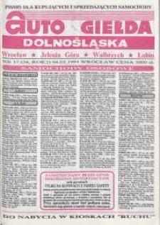 Auto Giełda Dolnośląska : pismo dla kupujących i sprzedających samochody, R. 2, 1993, nr 17 (54) [4.05]
