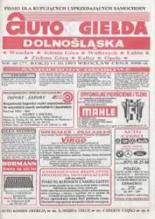 Auto Giełda Dolnośląska : pismo dla kupujących i sprzedających samochody, R. 2, 1993, nr 40 (77) [11.10]