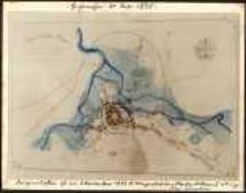 Plan miasta Hirschberg z oznaczonymi zabudowaniami zalanymi przez powódź 29-30 lipca 1897 roku