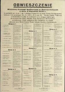 Obwieszczenie Miejskiej Komisji Wyborczej w Świebodzicach z dnia 11 stycznia 1978 r.