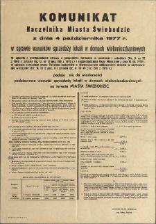 Komunikat Naczelnika Miasta Świebodzic z dnia 4 października 1977 r.