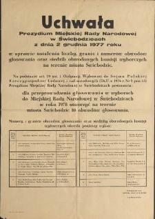 Uchwała Miejskiej Rady Narodowej w Świebodzicach z dnia 2 grudnia 1977 roku