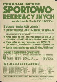 Program imprez sportowo-rekreacyjnych w dniach 3-4 IX 1977 r.