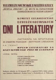 VI Dzierżoniowskie Dni Literatury