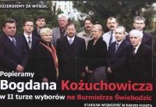 Dziękujemy za wybór. Popieramy Bogdana Kożuchowicza w II turze wyborów na Burmistrza Świebodzic