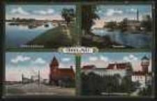 Ohlau – Partie am der Schleuse, Tiergarten, Oderbrücke mit Zollhaus, Partie am Schlossplatz [Dokument ikonograficzny]