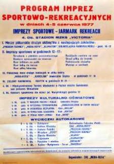 Program imprez sportowo-rekreacyjnych w dniach 4-5 czerwca 1977
