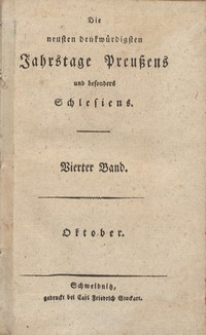 Die neusten ben benkwurrdigsten Jahrstage preusens und besonders Schlesiens. Bd. 4