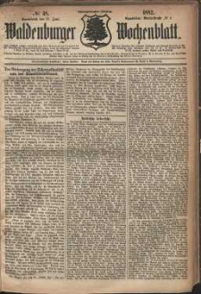 Waldenburger Wochenblatt, Jg. 28, 1882, nr 48