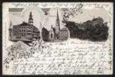 Gruss aus Ohlau – Rathaus, Evang. Kirche, Schlossplatz [Dokument ikonograficzny]