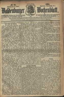 Waldenburger Wochenblatt, Jg. 30, 1884, nr 31