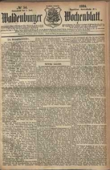 Waldenburger Wochenblatt, Jg. 30, 1884, nr 54