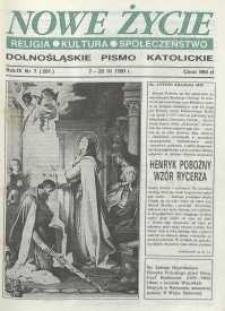 Nowe Życie: dolnośląskie pismo katolickie: religia, kultura, społeczeństwo, 1991, nr 7 (201)