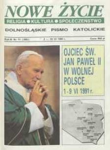 Nowe Życie: dolnośląskie pismo katolickie: religia, kultura, społeczeństwo, 1991, nr 11 (205)