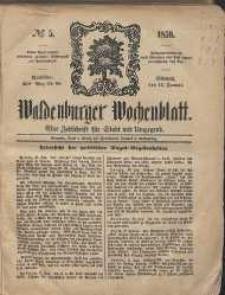 Waldenburger Wochenblatt, Jg. 5, 1859, nr 5
