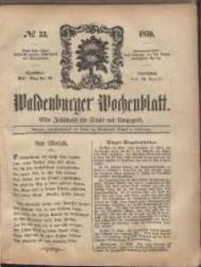 Waldenburger Wochenblatt, Jg. 5, 1859, nr 33